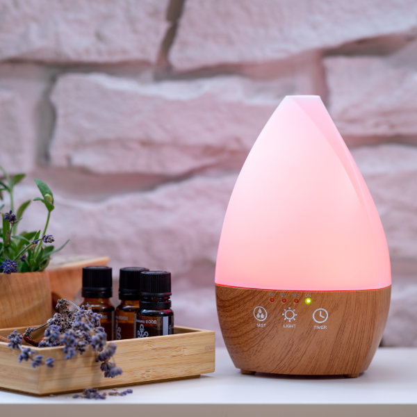Арома дифузер Dark Wood Vase със светлини розов
