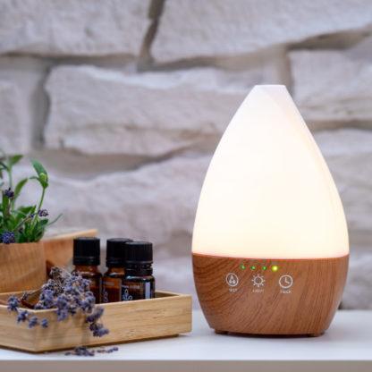 Арома дифузер Dark Wood Vase със светлини бял