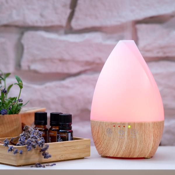 Арома дифузер Light Wood Vase със светлини розав